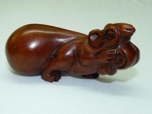 Vintage Japanese Detailed Hand Carved Wooden Netsuke Mouse With A Nut L 7 5 Cm