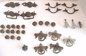 Vintage Lot Of 34 Brass Hardware Door Or Drawer Pulls Crystal Or Glass Knobs