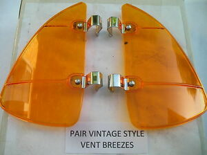New Right Left Amber Colored Vintage Style Air Vent Window Deflectors 126