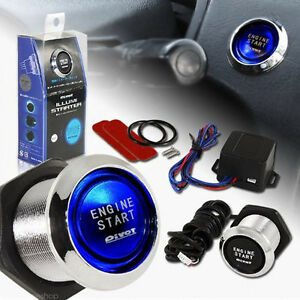 12v Car Engine Start Push Button Switch Ignition Starter Kit Blue Led Switch