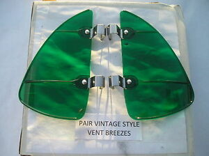 New Right Left Green Colored Vintage Style Air Vent Window Deflectors 126