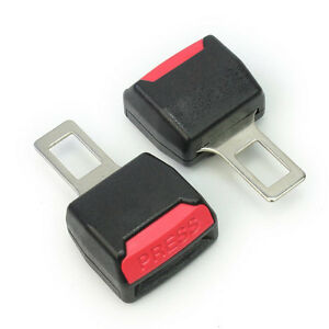 2x Safety Alarm Universal Car Seat Belt Clip Buckle Extender Extension Black