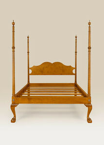 Queen Size Classic Four Poster Bed Tiger Maple Antique Style Furniture Quality