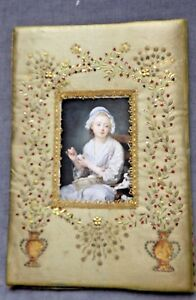 French Sequin Embroidery On Silk Picture Frame Metallic Trim Silk Thread