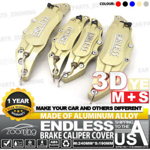 Metal 3d Endless Universal Style Brake Caliper Cover Front Rear 4pcs Gold Lw03