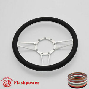 14 Billet Black Steering Wheels Half Wrap Restoration Suburban El Camino Satin