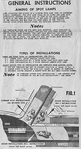 1952 1953 1954 Ford Appleton Spotlight Mounting Template Instructions