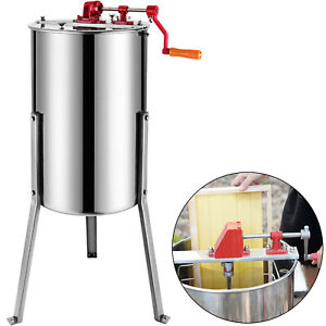 Pro 3 6 Frame Stainless Steel Manual Bee Honey Extractor Beekeeping Equipment