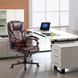 High Back Swivel Executive Office Chair Pu Leather Task Ergonomic Computer Desk