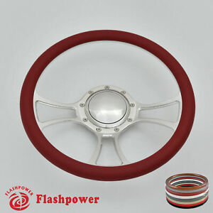 14 Billet Steering Wheel Red Half Wrap Chevrolet Monte Carlo Camaro Gmc W Horn