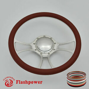 14 Billet Steering Wheel Burgundy Half Wrap Chevrolet Monte Carlo Camaro Gmc