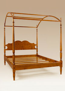 Full Size Tiger Maple Wood Poster Canopy Bed Frame Sheraton Style American Made