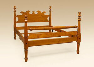 Full Size Four Poster Bed Frame Headboard Footboard Tiger Maple Wood Furniture