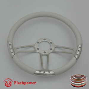 14 Universal Billet Aluminum 6 Hole Steering Wheel W White Leather Wrap