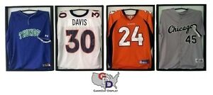 Lot Of 4 Jersey Display Case Frane With Hangers White Backing Football Gameday