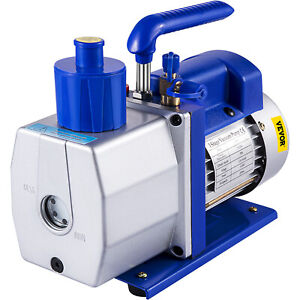 Single Stage Vacuum Pump 7cfm 1 2hp Rotary Vane Vevor Ac Black New Deep Hvac