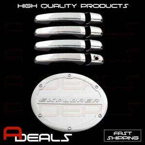 Fit 16 17 Ford Explorer Door Handle Chrome Cover W O Pskh W O Smart Key Gas Door