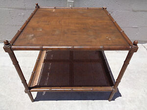 Tlc Vintage Baker Labeled Milling Road Faux Bamboo Cane Accent End Side Table