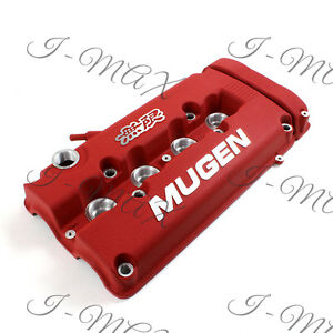 Red Mugen Style Engine Valve Cover For 1999 2000 Honda Civic Si Dohc Vtec