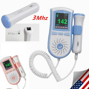 Fetal Heart Doppler 3mhz Probe Maternity Heart Sound Monitor Lcd Pocket Blue Ce