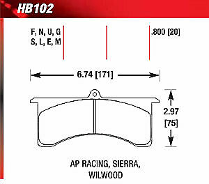 Hawk Hb102e 800 Blue 9012 Disk Brake Pads Ap Racing 6 Sierra Jfz Wilwood