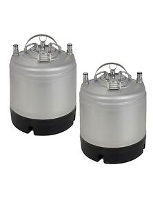 New Kegco 1 75 Gallon Home Brew Ball Lock Keg With Strap Handle Set Of 2