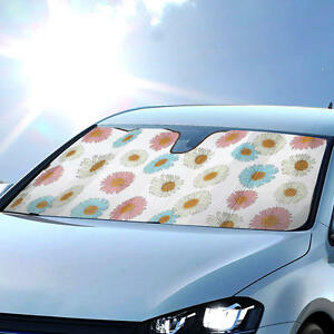 Auto Car Sun Shade Daisy Flowers Design Double Bubble Windshield Sunshade