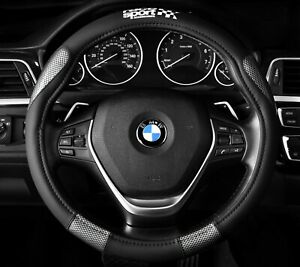 Steering Wheel Cover Black Carbon Fits 14 5 To 15 5 Racing Sport M