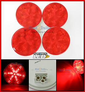 4 Red 4 Round Led 7 Stop Turn Tail Light Optronics Truck Trailer Fleet