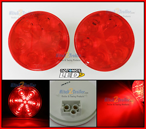 2 Red 4 Round Led 7 Stop Turn Tail Light Optronics Truck Trailer Fleet