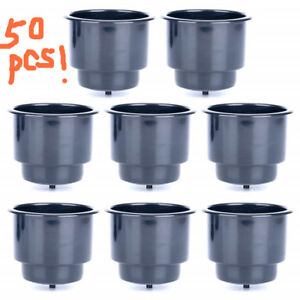 50pcs Black Recessed Plastic Cup Drink Holders With Drain For Boat Car Marine Rv