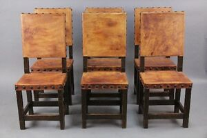 Set Of 6 Tall Back Spanish Revival Leather Side Chairs Antique Dining 10310