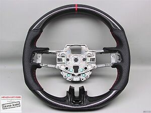2015 Ford Mustang Shelby Gt 350 Red Ring Thick Flat Bottom Carbon Steering Wheel
