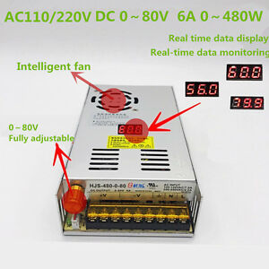 Led Dc Regulated 0 80v 6a Adjustable Switching Power Supply With Digital Display