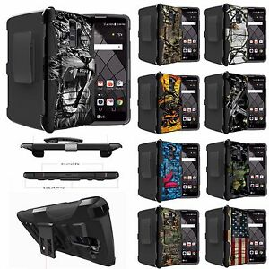 For [LG Phones] Heavy Duty Shock Combo Dual Stand Case Armor Rugged Camo Tree