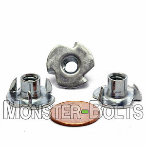 1 4 20 Oal 3 Prong Tee Nut Cr 3 Zinc Plated Steel T nut 5 16 Or 7 16