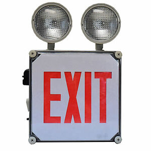 Globe Lighting Led Exit Light With Emergency Backup Lighting Combo wet Location