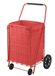 21 In W Folding Shopping Cart W 4 Wheels Grocery Utility Basket Red Liner New