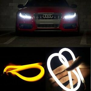 2pcs 85cm Car Flexible Tube Led Strip Drl Light Switchback Headlight White Amber