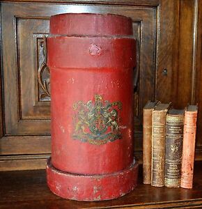 Antique Large English Crest Coat Of Arms Red Canvas Fire Powder Cordite Bucket