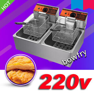 220v Electric Countertop Deep Fryer Double Cylinder 5 5lx2
