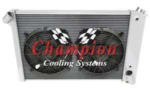 1969 1972 Chevrolet Corvette Champion 3 Row Radiator With Dual 12in Fans