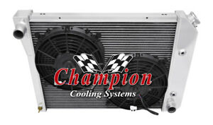 1973 1975 Buick Apollo Champion 3 Row Aluminum Radiator With Dual 10in Fans