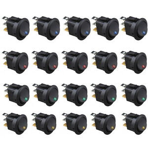 20x Led Light 3 Pin Round Rocker On off Toggle Switch For Car Marine Boat Truck