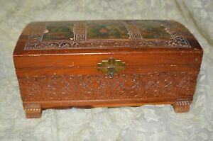 Vintage Wooden Jewelry Or Cigar Carved Cedar With Pictures