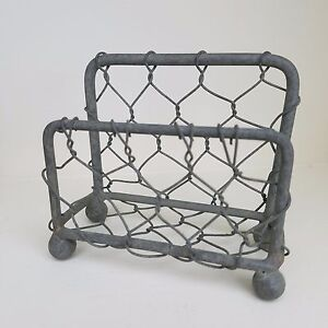 Chicken Wire Business Card Holder Barn Roof Finish Rustic Office Decor