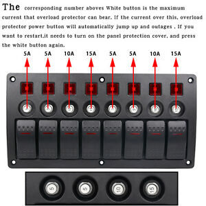 3 Pin 8 Gang 12v 24v Red Led Car Marine Boat Rocker Switch Panel Circuit Breaker