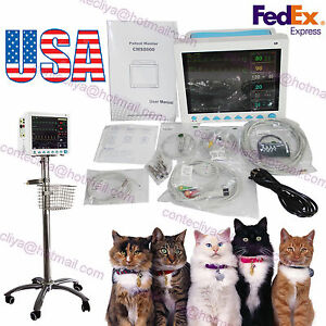 Veterinary Patient Monitor 6 Parameter ecg nibp pr spo2 temp resp rolling Stand