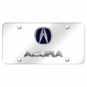 Acura Logo Chrome And Blue Stainless Steel Standard Novelty Front License Plate