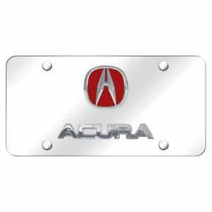 Acura Logo Chrome And Red Chrome Stainless Steel Novelty Front License Plate
